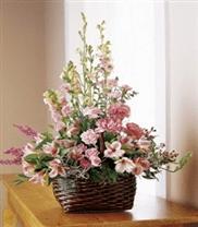 Panier FTD avec fleurs roses S35-3115
