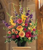 Corbeille funéraire avec fleurs de couleurs vives TF183-1